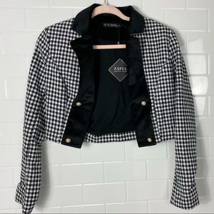 ZAFUL Black/White Checked Cropped Blazer
